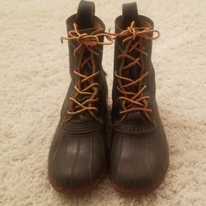 LL Bean  Tumble Leather Lined Duck Boots